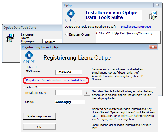 Installieren Optipe Add-Ins